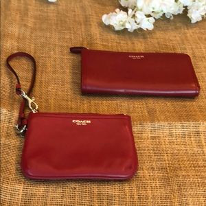 Coach Red Wallet and Matching Wristlet